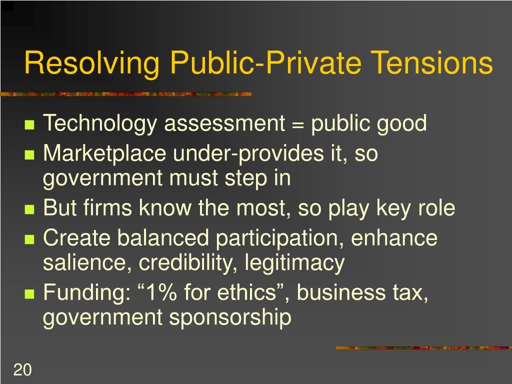 Resolving Public-Private Tensions