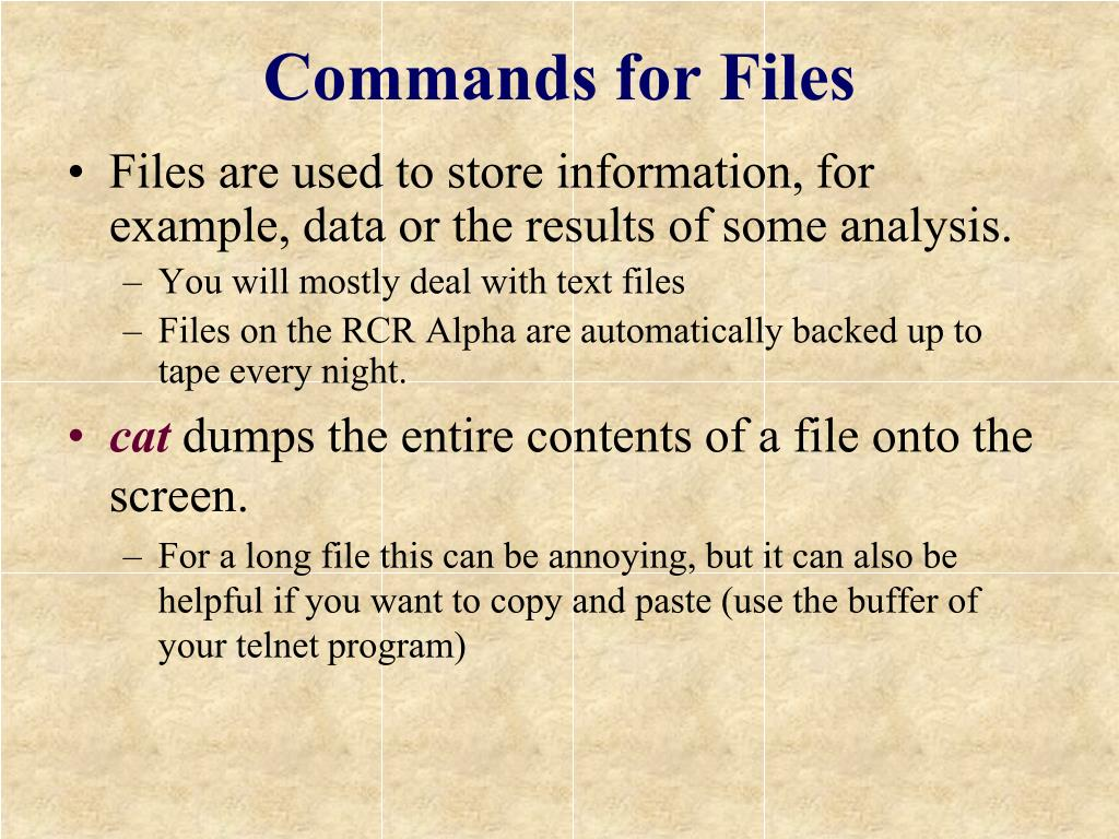 Commands for Files