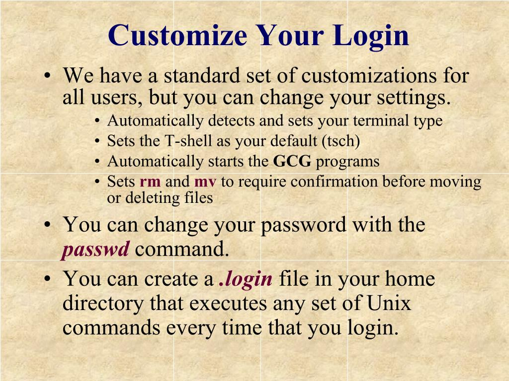 Customize Your Login