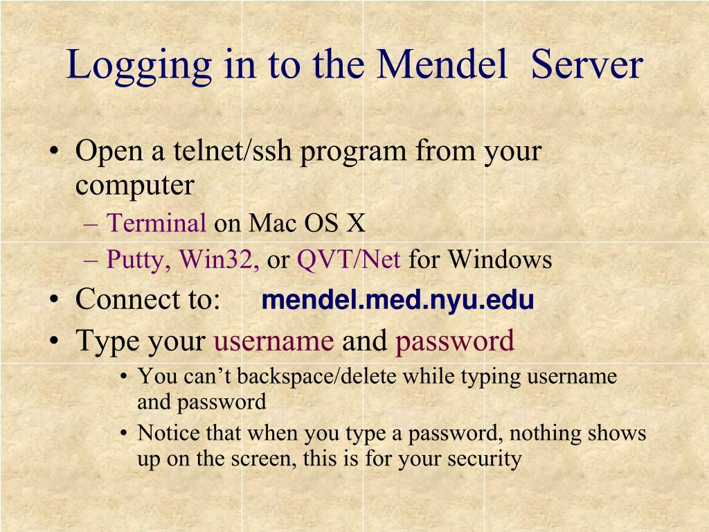 Logging in to the Mendel  Server