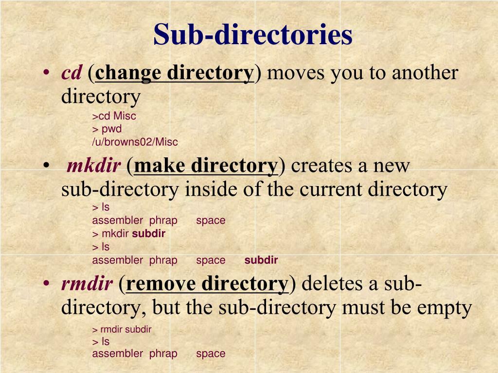 Sub-directories