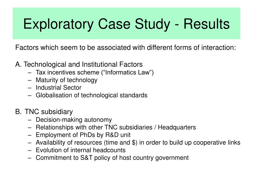 Exploratory Case Study - Results
