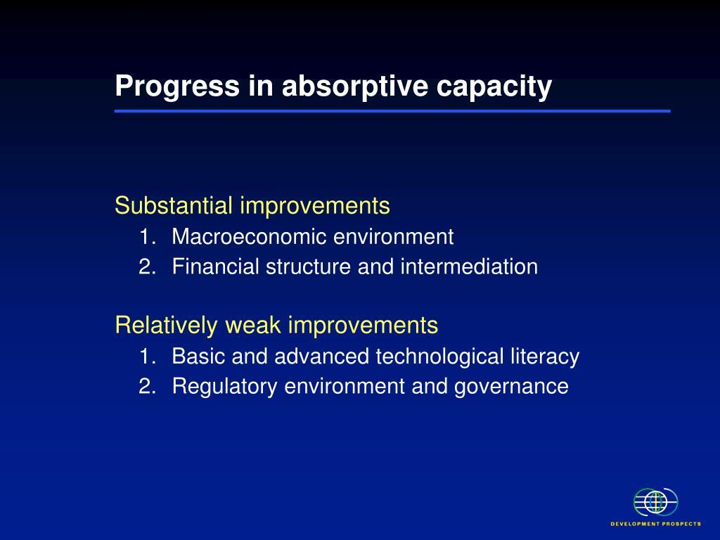 Progress in absorptive capacity