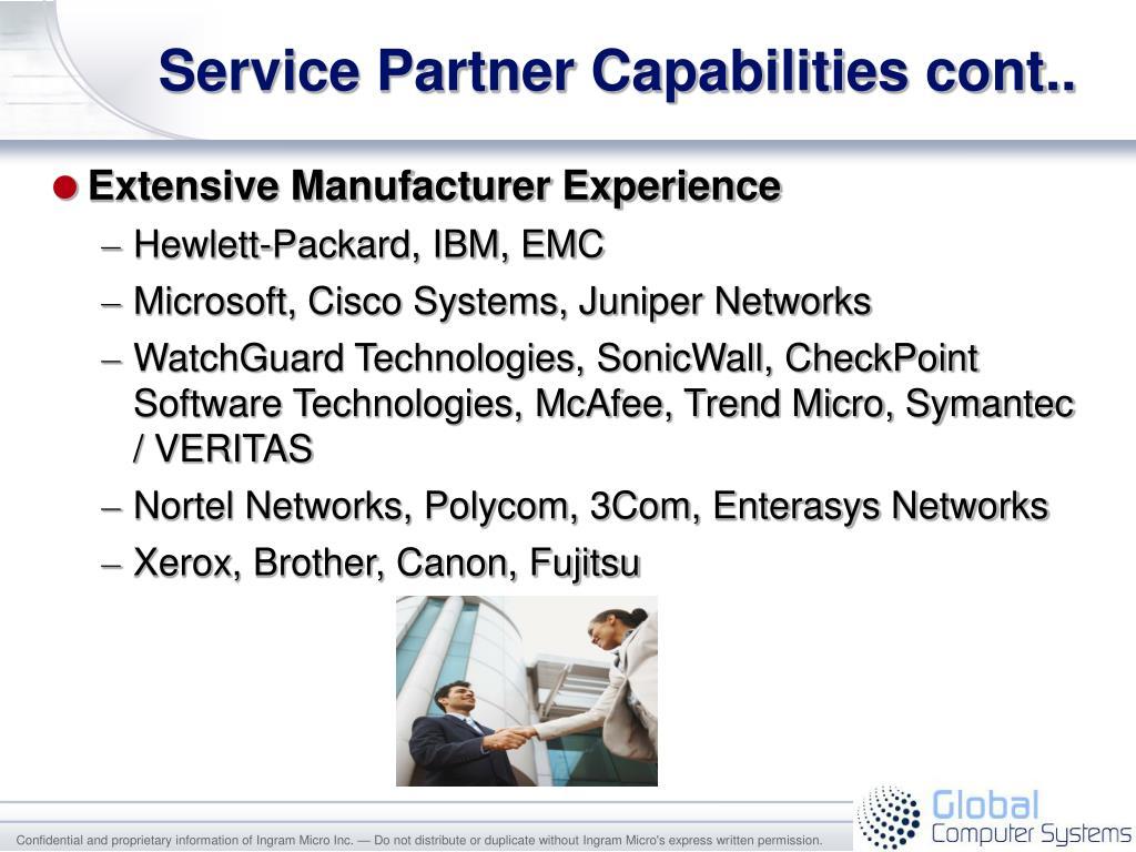 Service Partner Capabilities cont..