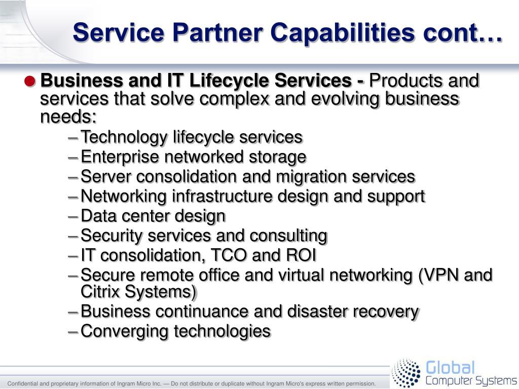 Service Partner Capabilities cont…