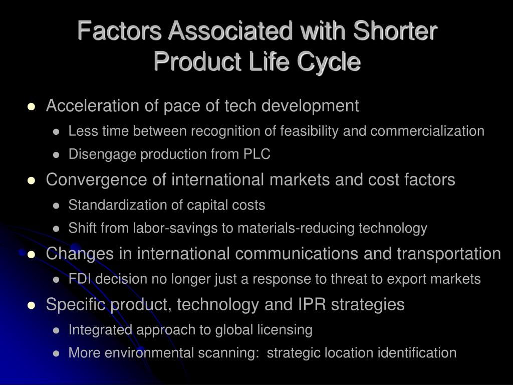 Factors Associated with Shorter Product Life Cycle