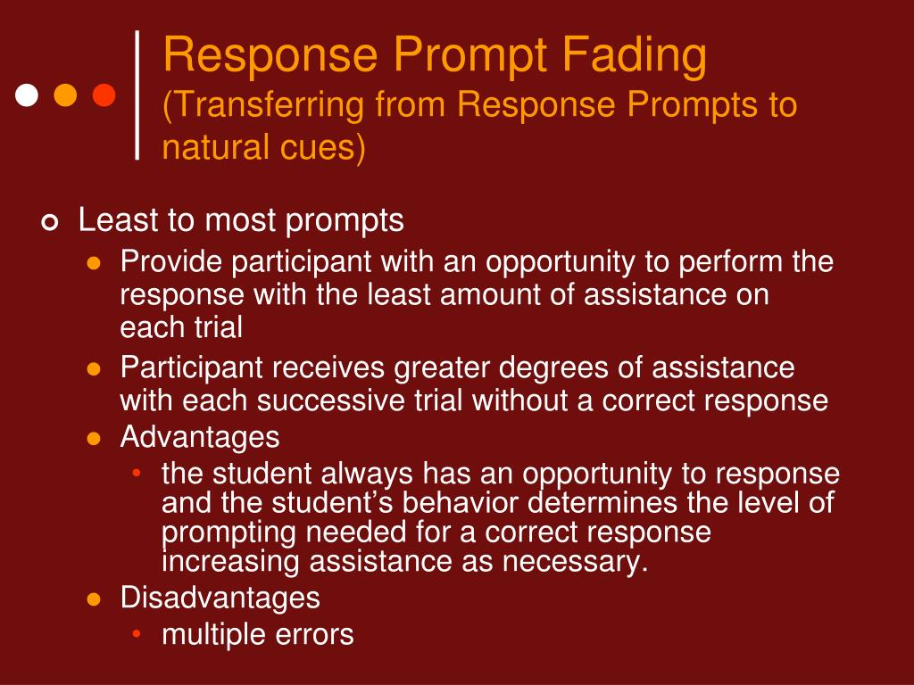 Response Prompt Fading