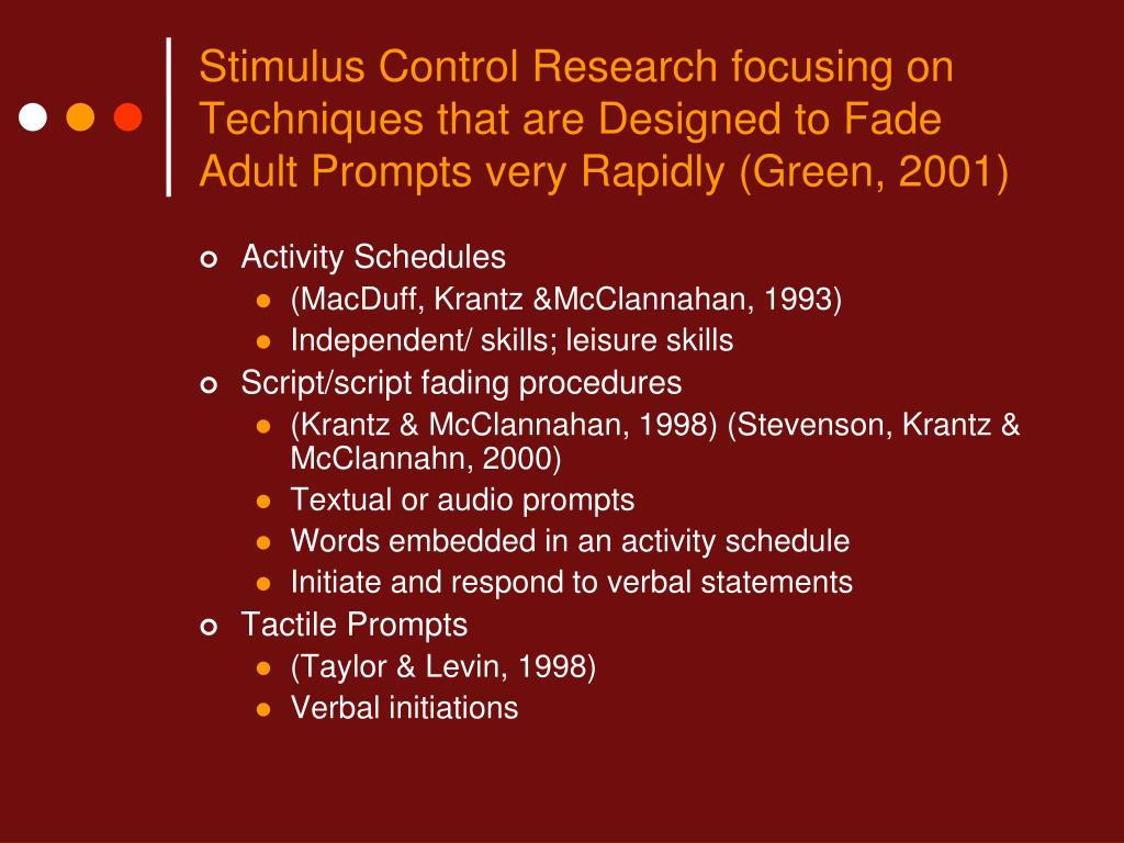 Stimulus Control Research focusing on Techniques that are Designed to Fade Adult Prompts very Rapidly (Green, 2001)