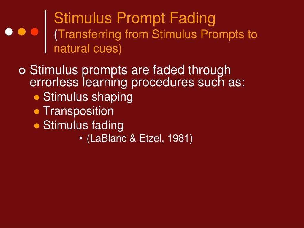 Stimulus Prompt Fading