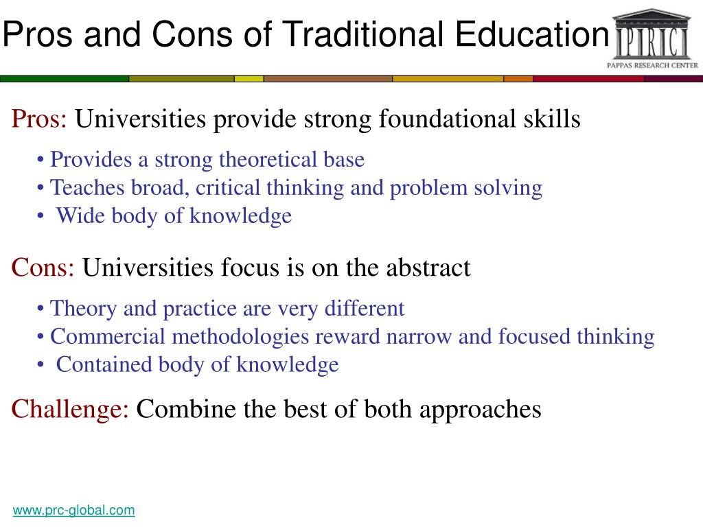 Pros and Cons of Traditional Education