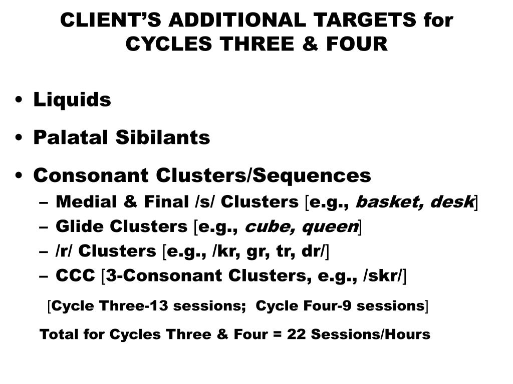 CLIENT'S ADDITIONAL TARGETS for