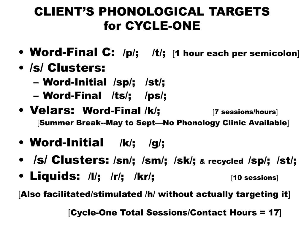CLIENT'S PHONOLOGICAL TARGETS