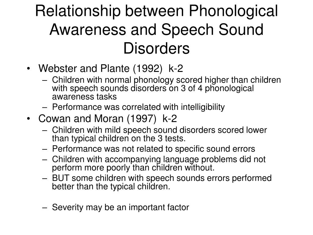 Relationship between Phonological Awareness and Speech Sound Disorders