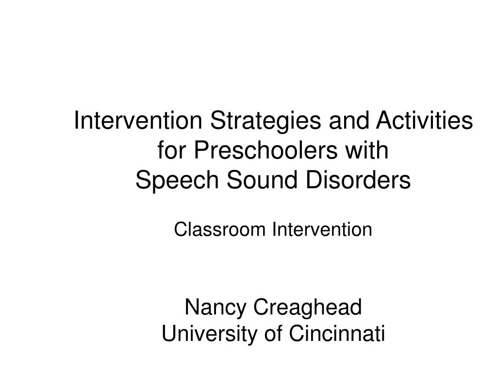 Intervention Strategies and Activities for Preschoolers with