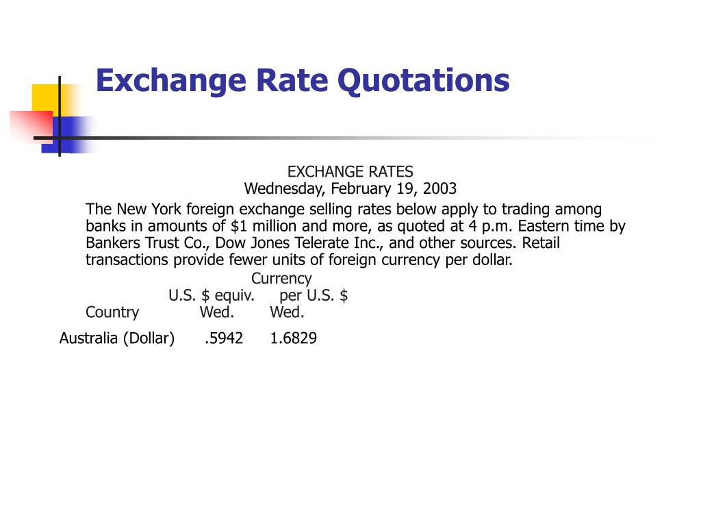 Exchange Rate Quotations