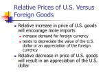 relative prices of u s versus foreign goods
