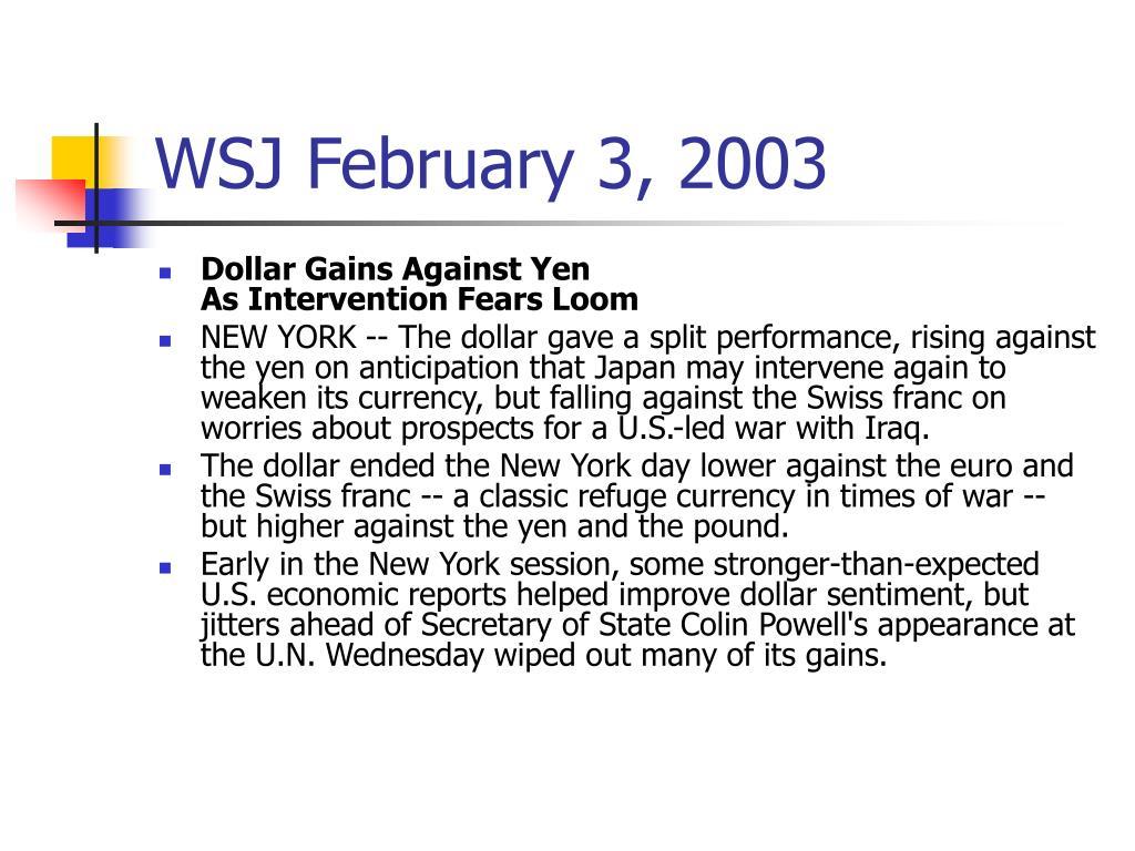 WSJ February 3, 2003