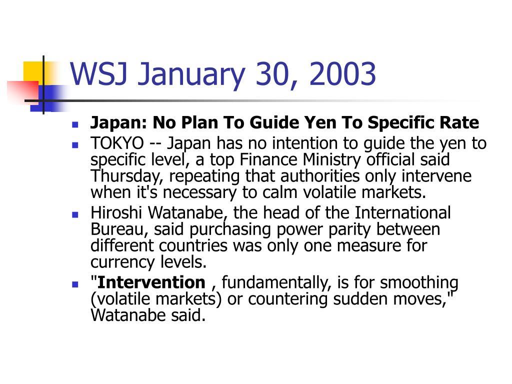 WSJ January 30, 2003