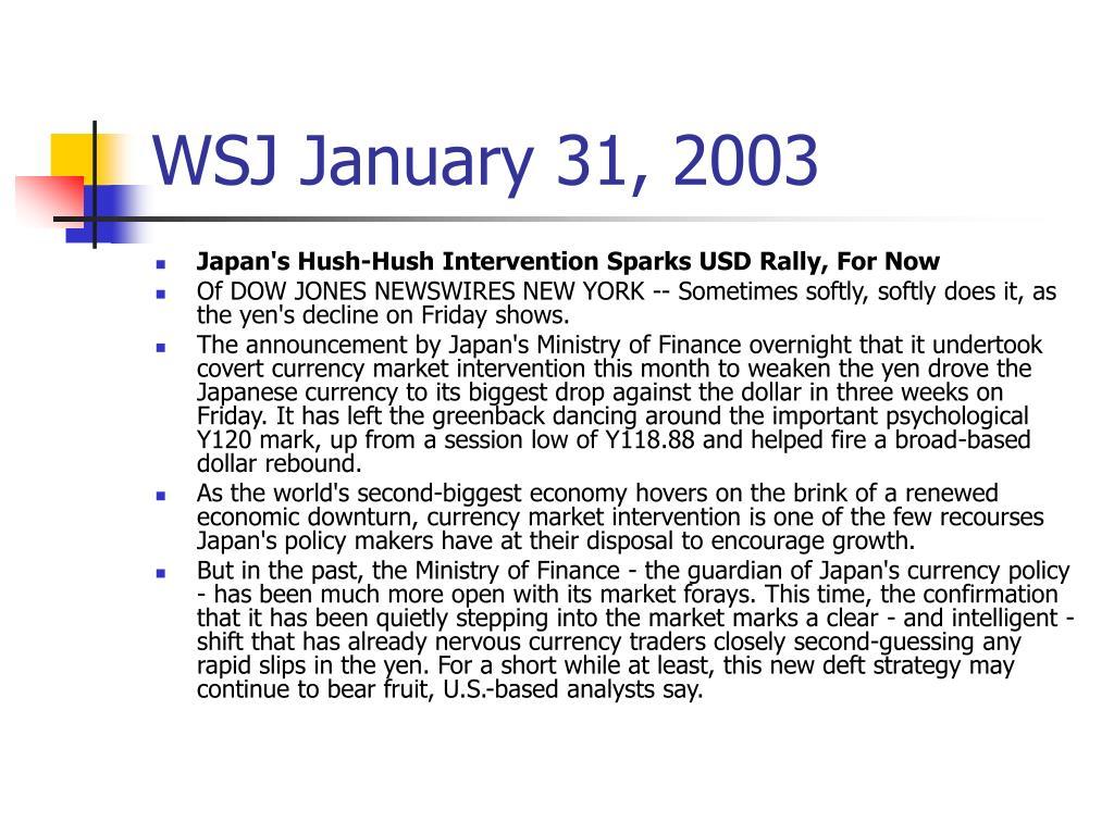 WSJ January 31, 2003
