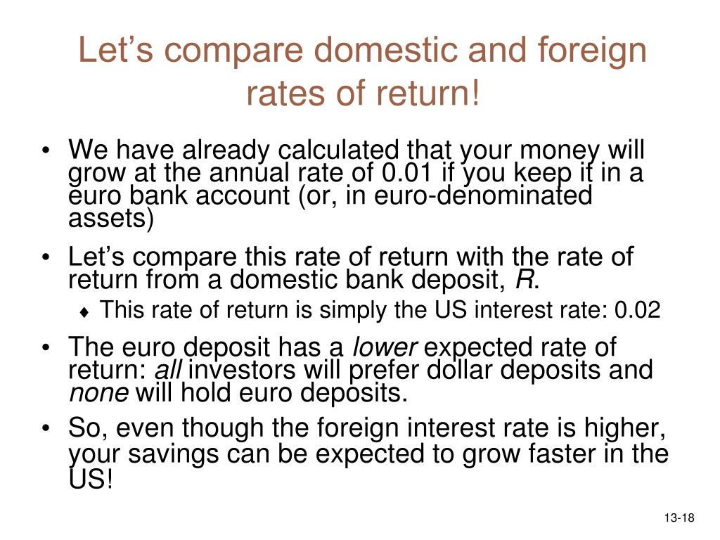 Let's compare domestic and foreign rates of return!