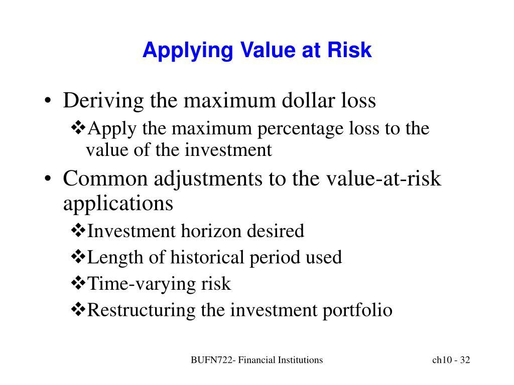 Applying Value at Risk