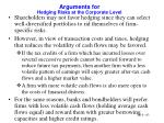 arguments for hedging risks at the corporate level