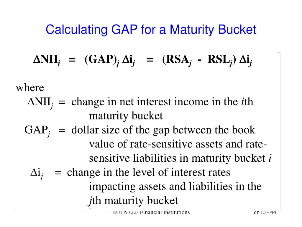 Calculating GAP for a Maturity Bucket