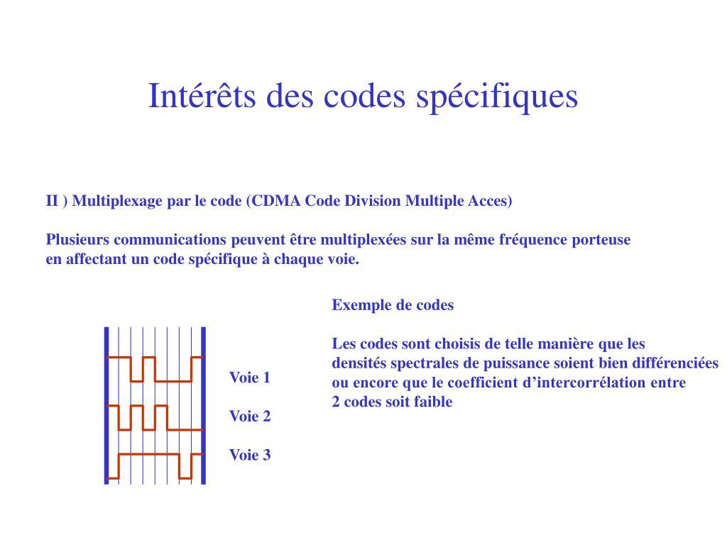 Intérêts des codes spécifiques