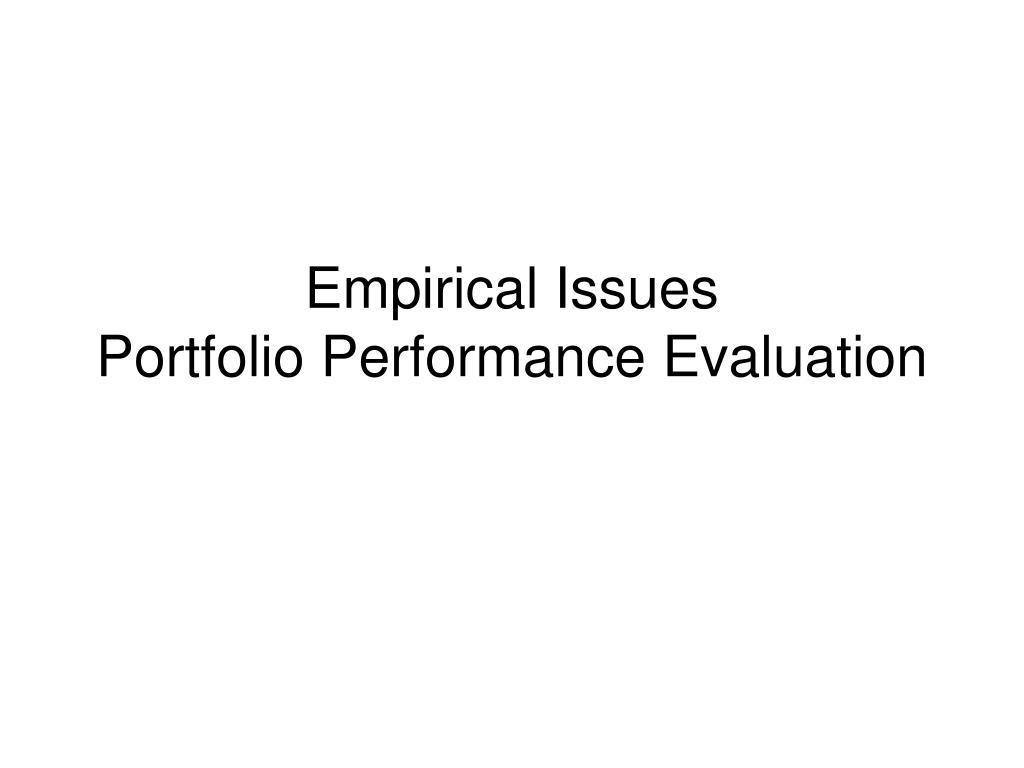 Empirical Issues