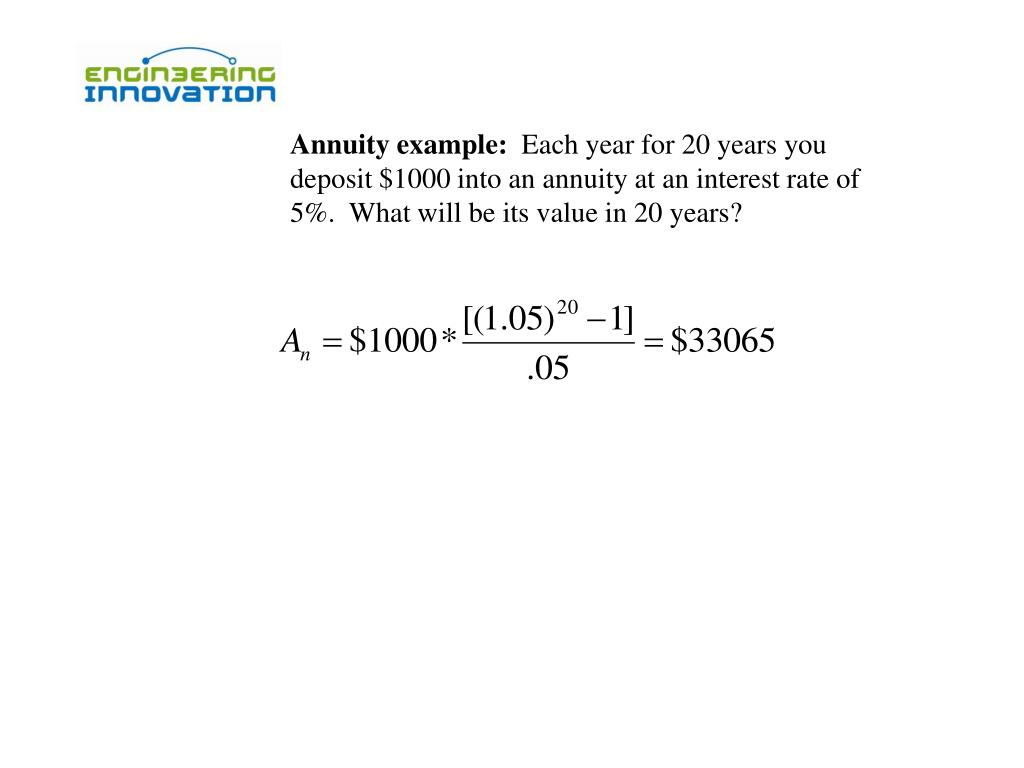 Annuity example: