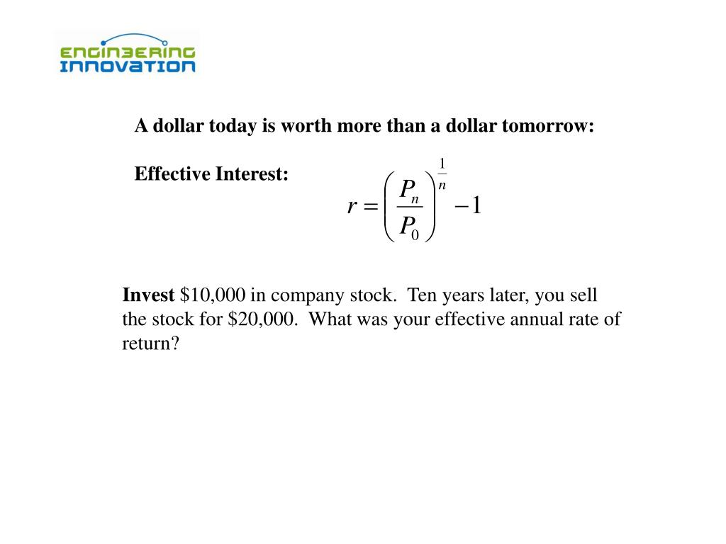 A dollar today is worth more than a dollar tomorrow: