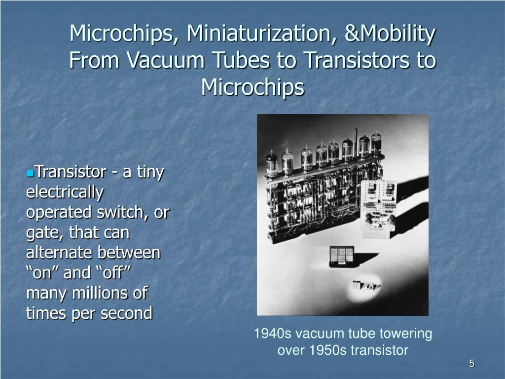 "Transistor - a tiny electrically operated switch, or gate, that can alternate between ""on"" and ""off"" many millions of times per second"