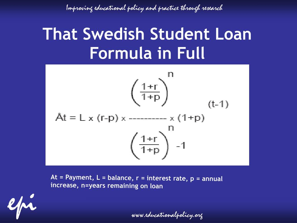 That Swedish Student Loan Formula in Full