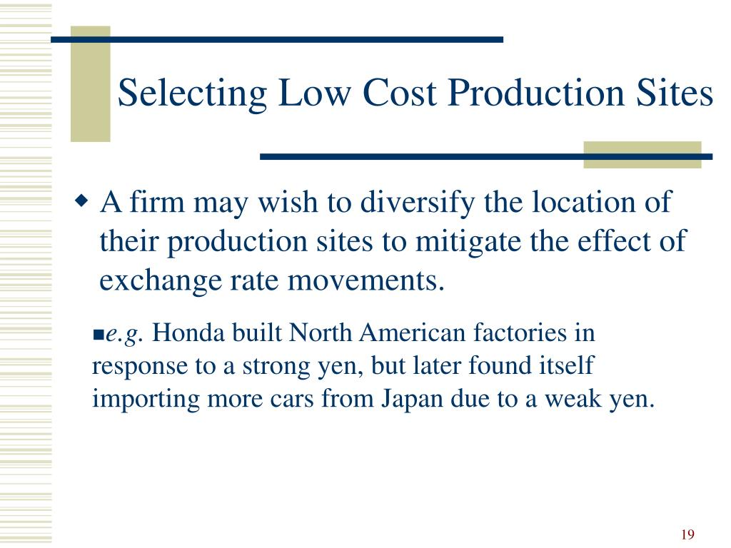 Selecting Low Cost Production Sites