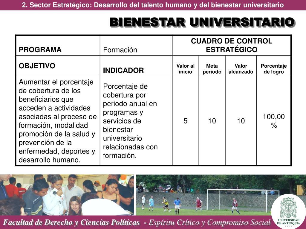 2. Sector Estratégico: Desarrollo del talento humano y del bienestar universitario