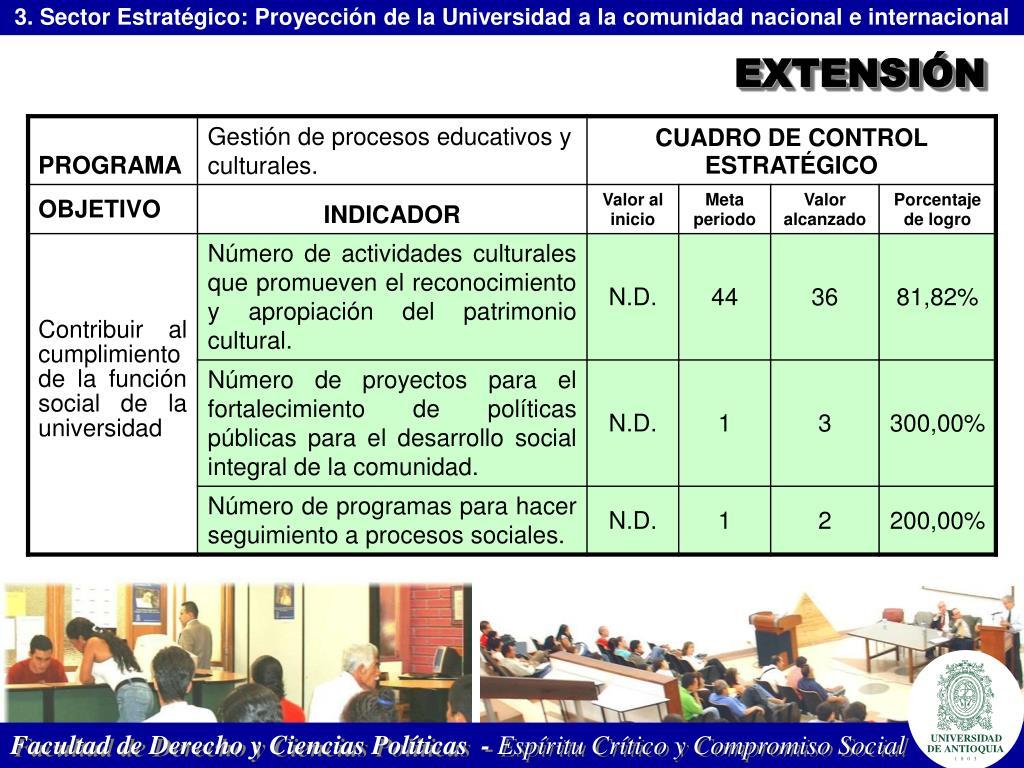 3. Sector Estratégico: Proyección de la Universidad a la comunidad nacional e internacional