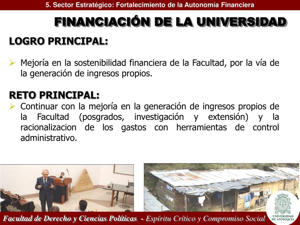 5. Sector Estratégico: Fortalecimiento de la Autonomía Financiera