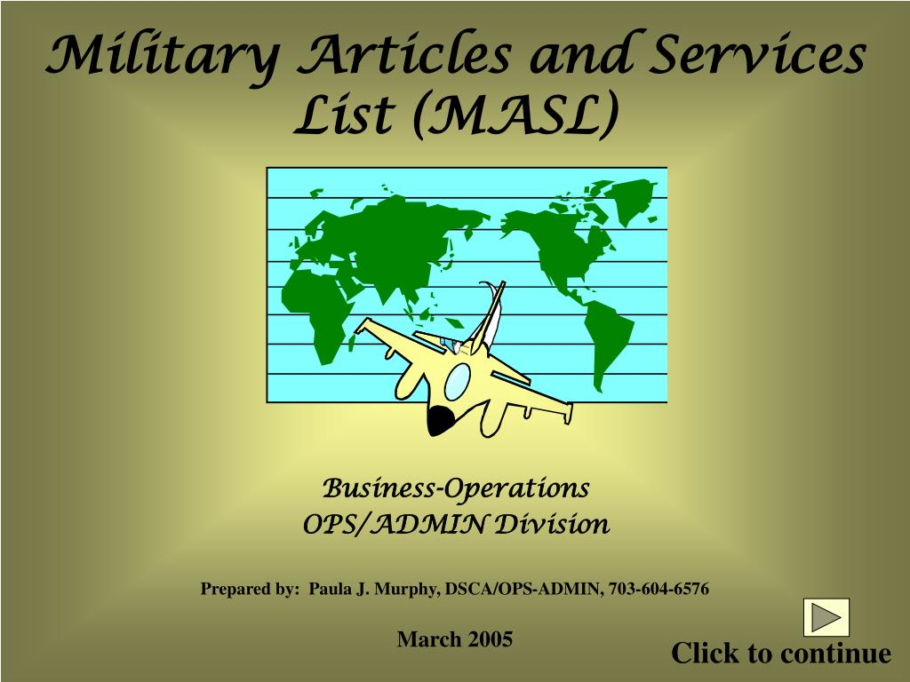 Military Articles and Services List (MASL)