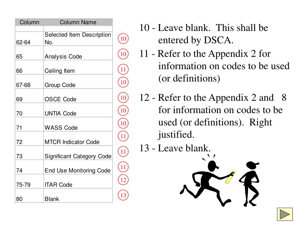 10 - Leave blank.  This shall be entered by DSCA.