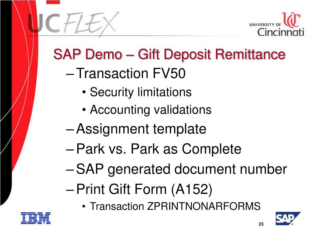 SAP Demo – Gift Deposit Remittance