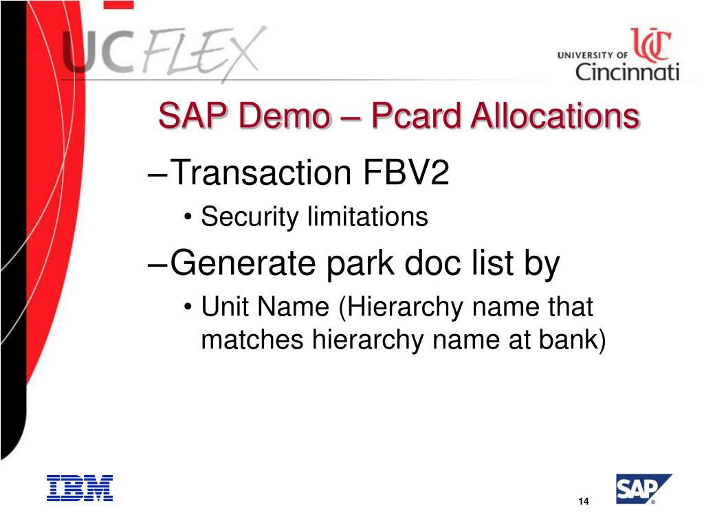 SAP Demo – Pcard Allocations
