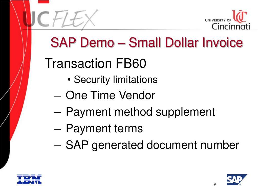 SAP Demo – Small Dollar Invoice