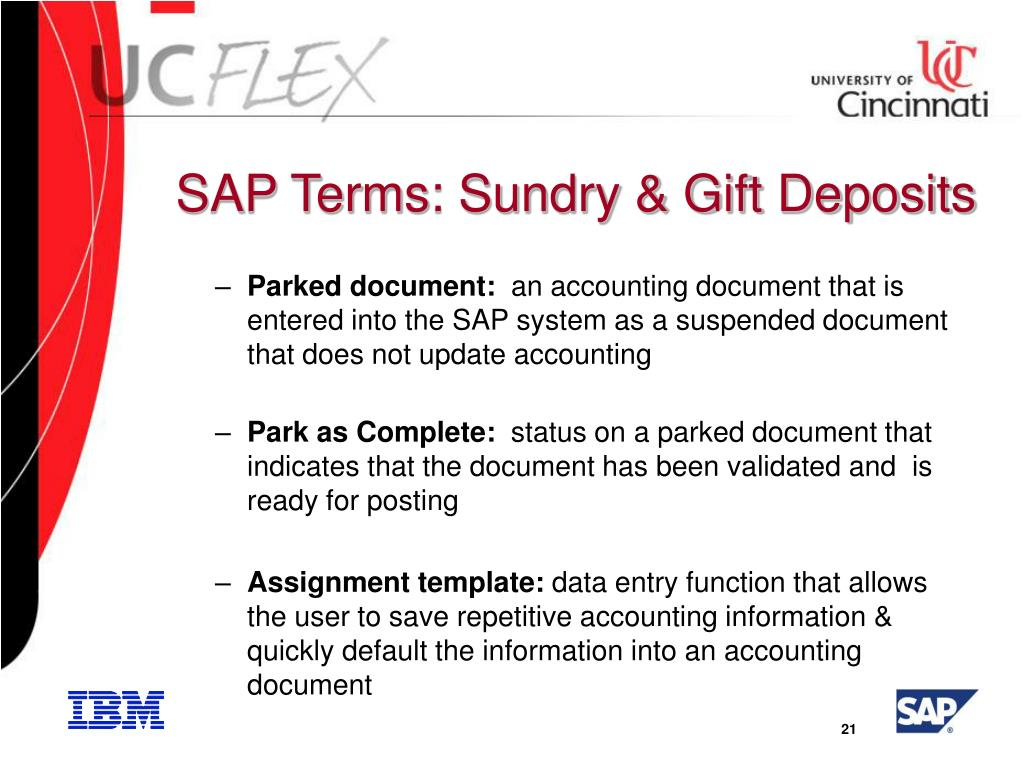 SAP Terms: Sundry & Gift Deposits