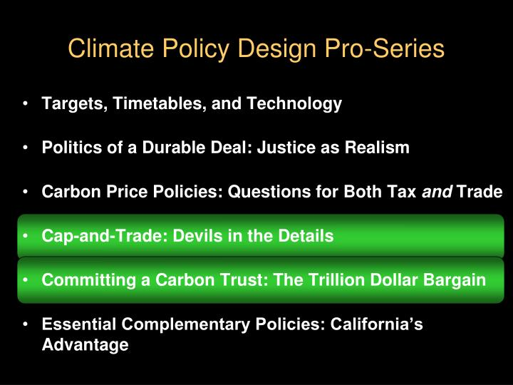 Climate policy design pro series
