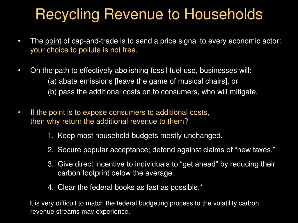 Recycling Revenue to Households