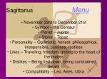 sagittarius menu