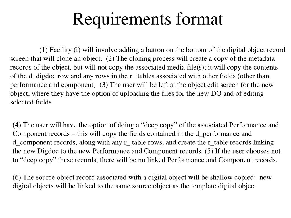 Requirements format