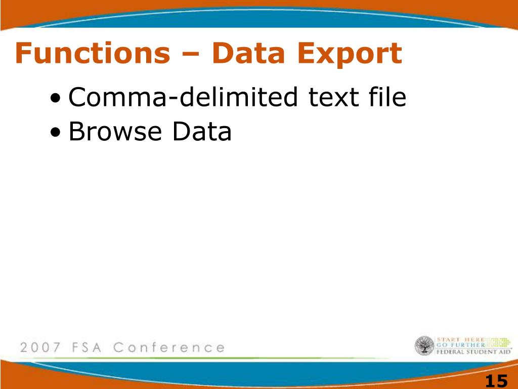 Functions – Data Export