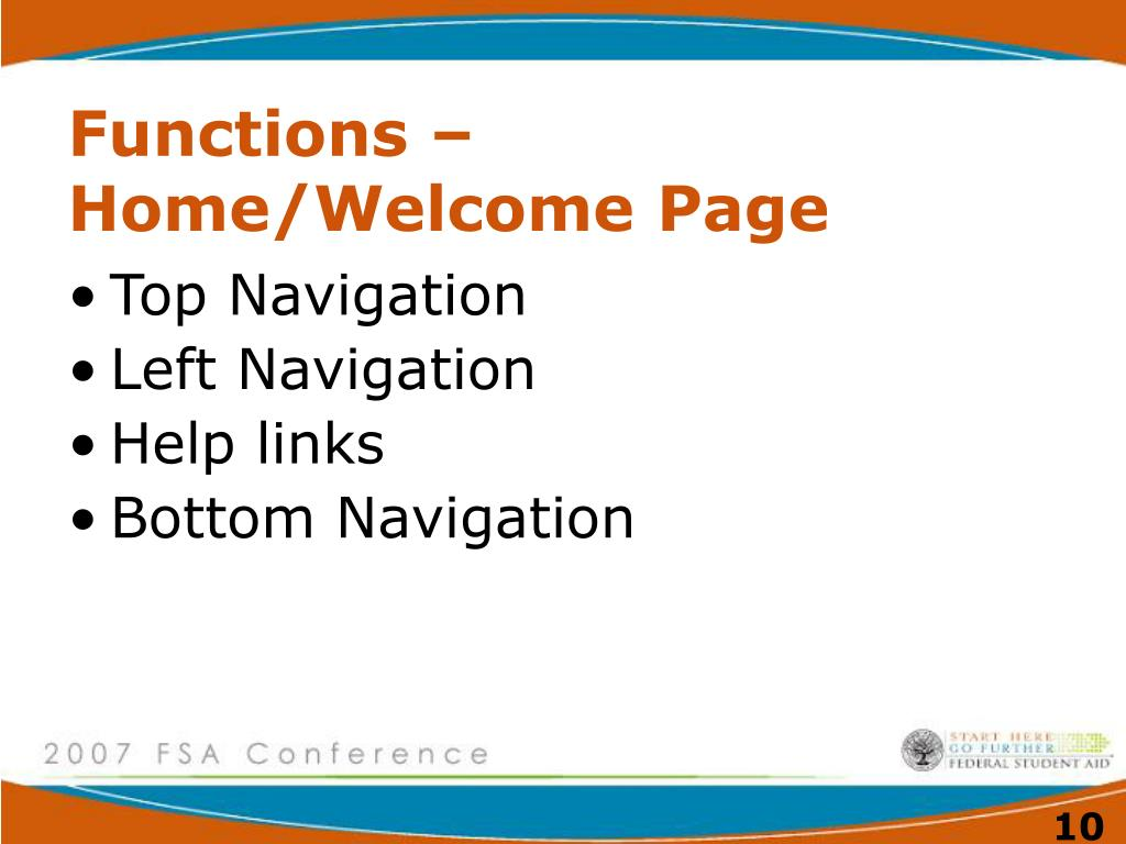 Functions – Home/Welcome Page
