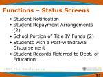 functions status screens